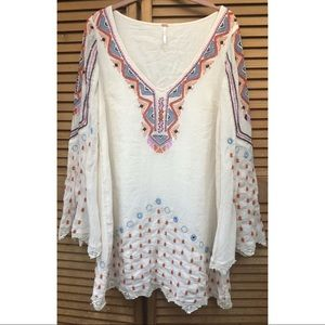 Free People Bright Boho beaded and stitched tunic.